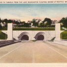Tunnels from Lake Washington Floating Bridge in Seattle Washington WA Linen Postcard - 4279