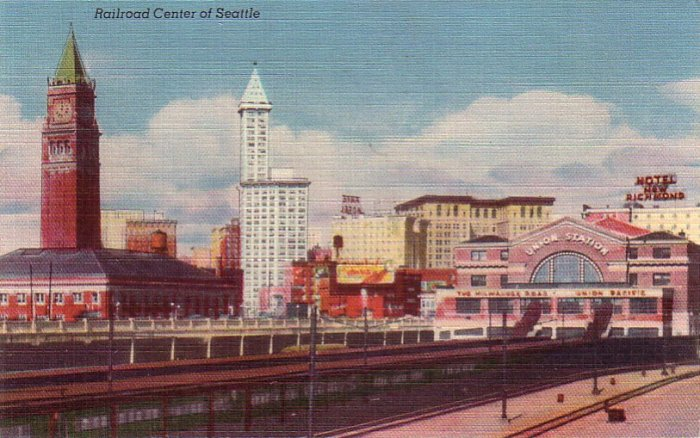 Railroad Center of Seattle Washington WA Linen Postcard - 4281