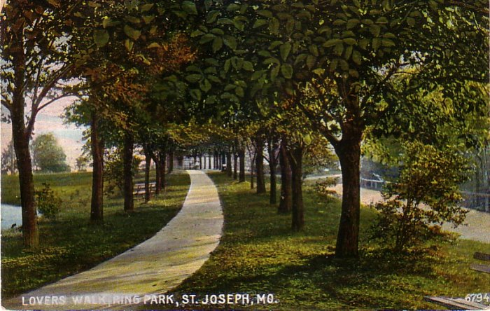 Lovers Walk at Ring Park in St. Joseph Missouri MO, Vintage Postcard - 4282