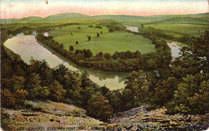 Schuylkill River from Reading Pennsylvania PA, 1910 Vintage Postcard - 4284