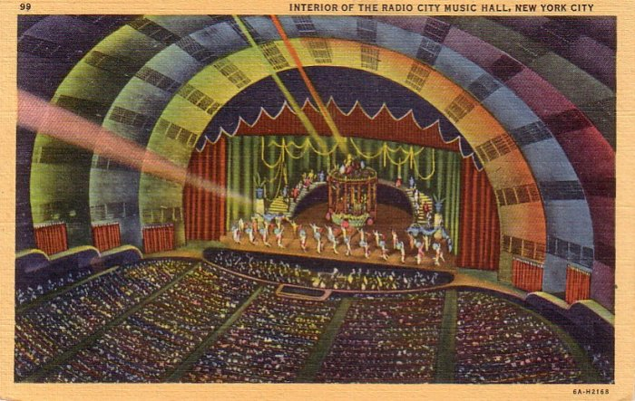 Interior of Radio City Music Hall in New York City NY, 1936 Curt Teich Linen Postcard - 4303