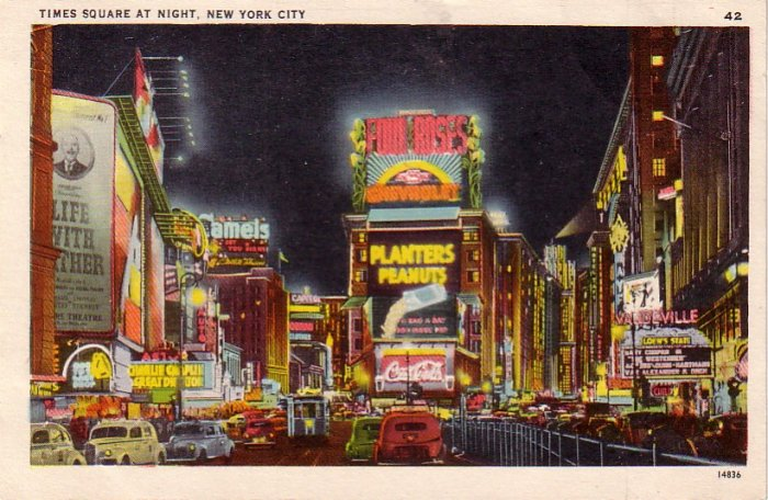 Times Square at Night in New York City NY, Vintage Postcard - 4304
