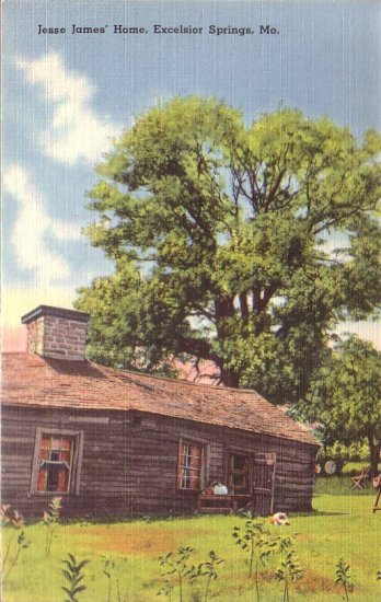 Jesse James Home in Excelsior Springs Missouri MO, Linen Postcard - 4321
