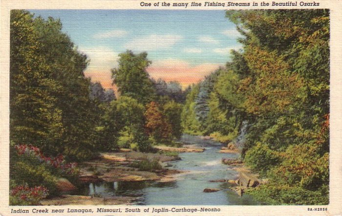 Indian Creek near Lanagan Missouri MO, 1938 Curt Teich Linen Postcard - 4326