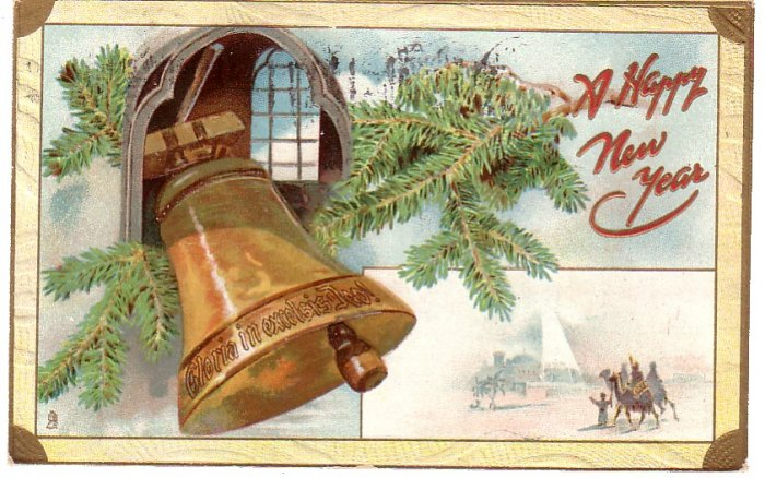 Raphael Tuck & Sons Vintage New Year's Postcard with Bell - 4340