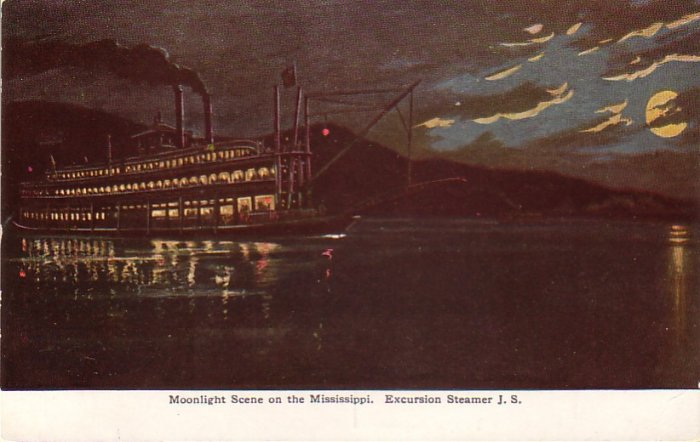 Excursion Steamer J.S. on the Mississippi River, Vintage Postcard - 4343