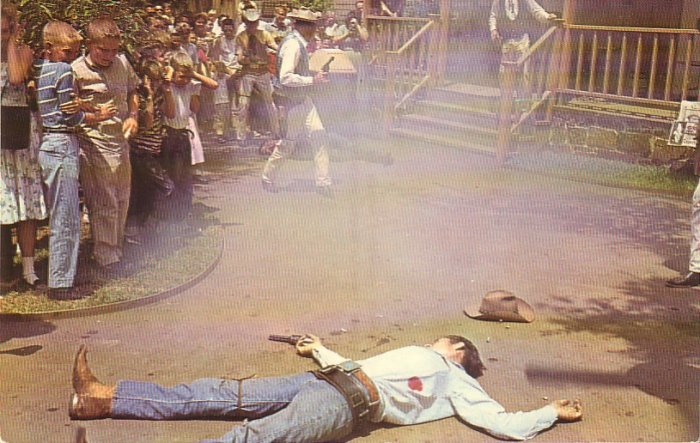 Shot Dead in the Texas Section at Six Flags over Texas, Chrome Postcard - 4364