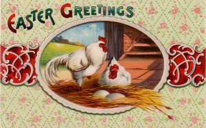 Easter Greetings with Chickens, Vintage Postcard - 4437