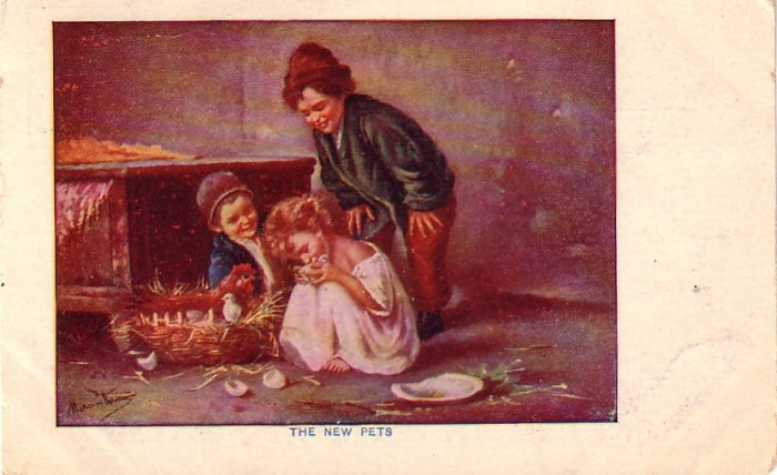 The New Pets, Children Playing with Chicks Vintage Postcard - 4438