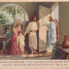 Jesus Knocking at the Door, Religious Vintage Postcard - 4440