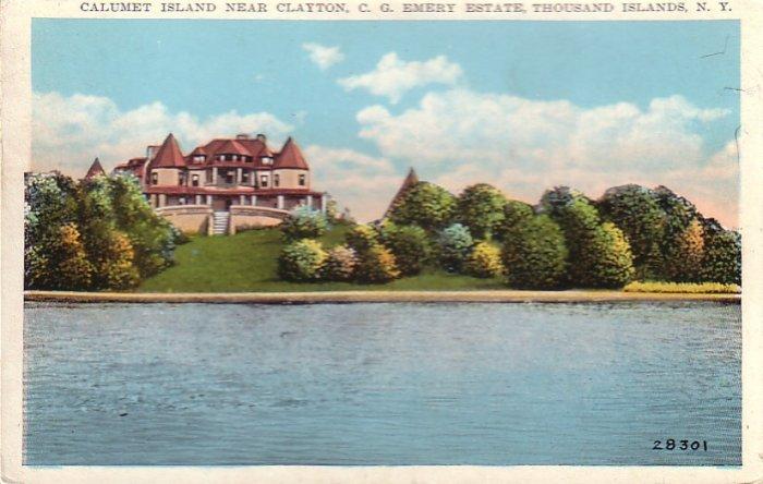 C.G. Emery Estate on Calumet Island near Clayton, Thousand Islands New York NY Postcard - 4460