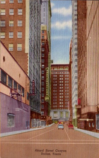 Akard Street Canyon in Dallas Texas TX 1954 Curt Teich Linen Postcard - 4477