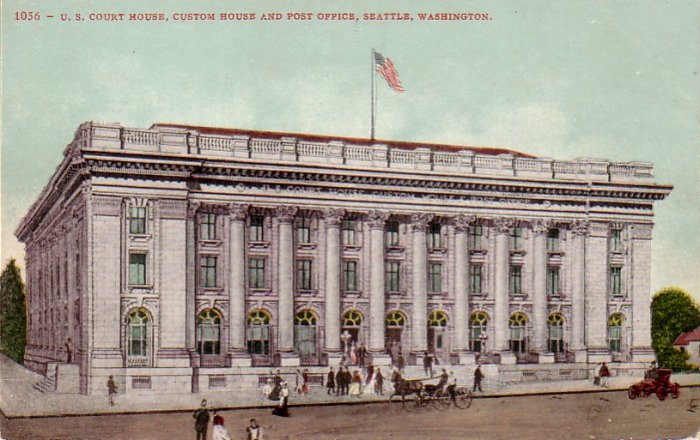 U.S. Court House in Seattle Washington WA, Edward H. Mitchell Vintage Postcard - 4483