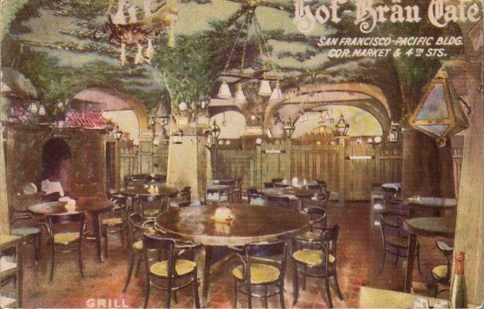 Grill Room in Hof Brau Cafe in San Francisco California CA, Vintage Postcard - 4484