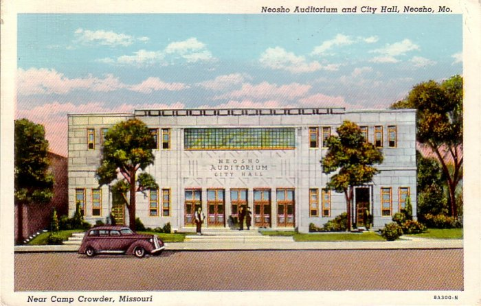 Neosho Auditorium and City Hall in Missouri MO, 1938 Curt Teich Linen Postcard - 4490
