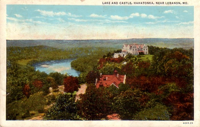 Lake and Castle Hahatonka Lebanon Missouri MO Curt Teich Vintage Postcard - 4491