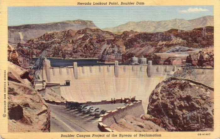 Nevada Lookout Point, Boulder Hoover Dam 1940 Curt Teich Linen Postcard - 4494