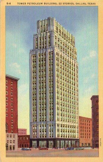 Tower Petroleum Building in Dallas Texas TX, 1935 Curt Teich Linen Postcard - 4489