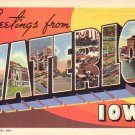 Greetings from Waterloo Iowa IA 1941 Large Letter Curt Teich Lienn Postcard - 4518