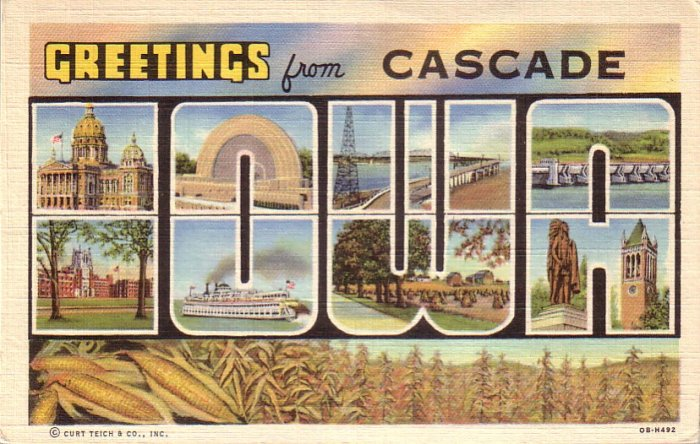 Greetings from Cascade Iowa IA 1940 Large Letter Curt Teich Lienn Postcard - 4519