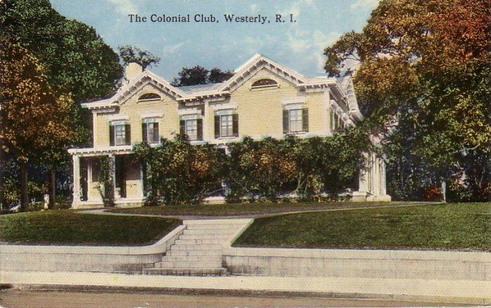 The Colonial Club in Westerly Rhode Island RI Curt Teich Vintage Postcard - 4526