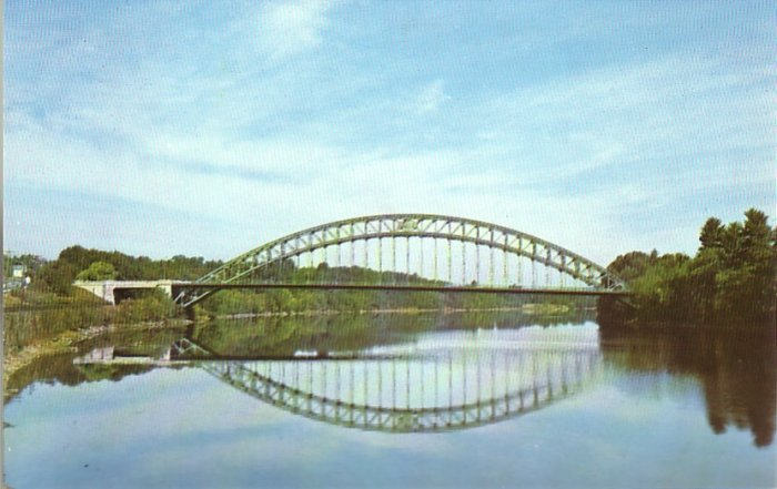 Tyngsboro Bridge over Merrimack River in Massachusetts MA, Chrome Postcard - 4529