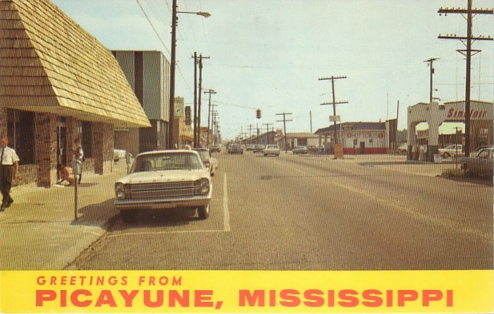 Greetings from Picayune Mississippi MS Chrome Postcard - 4541