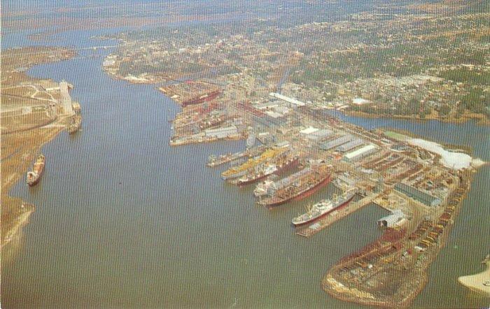 Ingalls Shipyard on Pascagoula River in Mississippi MS Postcard - 4546