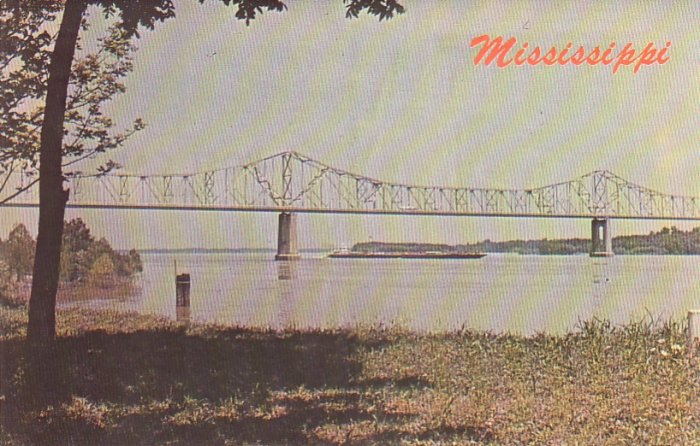 Mississippi River & Bridge at Greenville Mississippi MS Chrome Postcard - 4550
