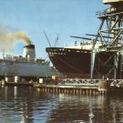 Ships in for Repair Pascagoula Mississippi MS Chrome Postcard - 4552