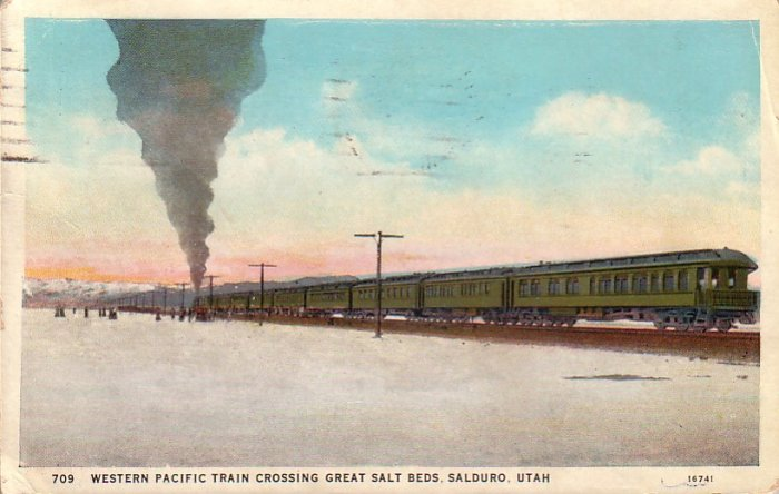 Western Pacific Train Crossing Great Salt Beds Salduro Utah UT, 1931 Vintage Postcard - 4561