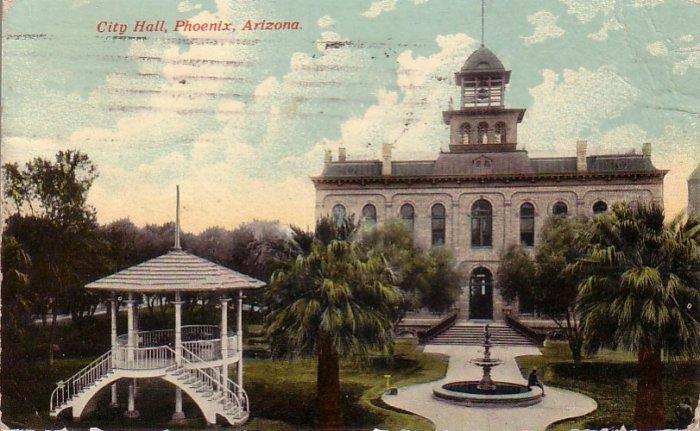 City Hall in Phoenix Arizona AZ 1913 Vintage Postcard - 4573