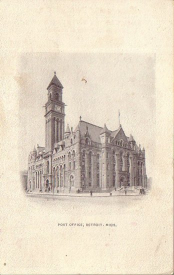 Post Office in Detroit Michigan MI Vintage Postal Card - 4577