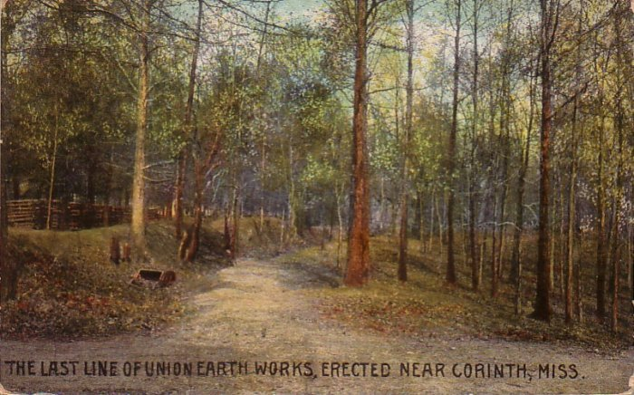 The Last Line of Union Earthworks Erected Near Corinth Mississippi MS, Vintage Postcard - 4578