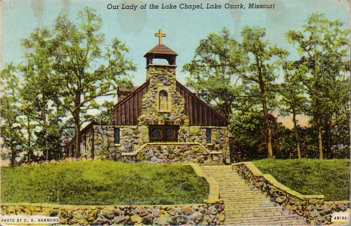 Our Lady of the Lake Chapel in Lake Ozark Missouri MO 1944 Curt Teich Linen Postcard - 4589