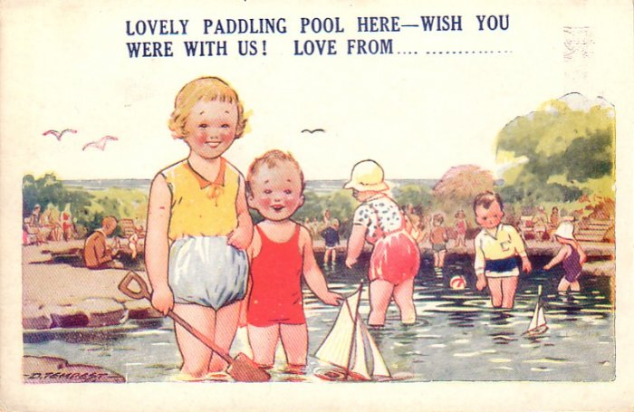 Children Playing in Paddline Pool, D. Tempest AS Vintage Postcard - 4658