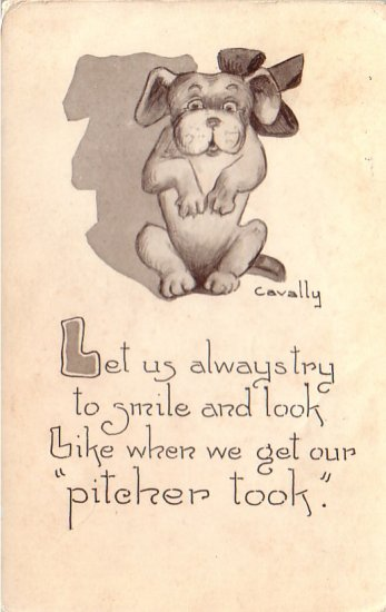 Puppy with Verse Artist Signed Fred L. Cavally Jr. 1912 Vintage Postcard  - 4661
