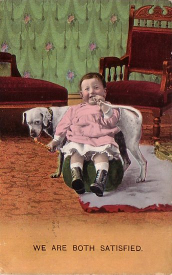 We Are Both Satisfied, Baby with Dog Sharing Snack 1910 Vintage Postcard - 4663