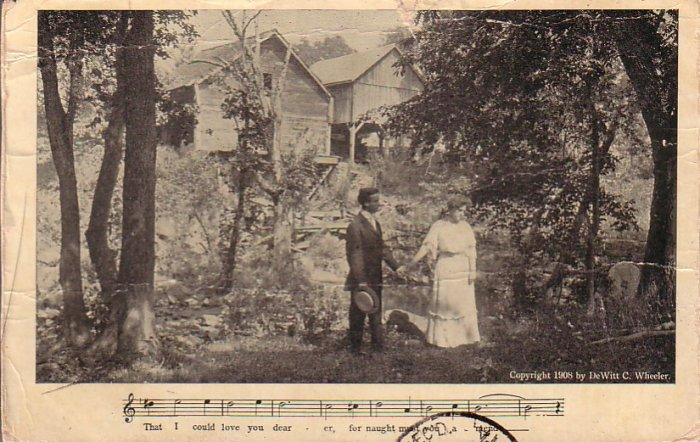 Couple near Creek, Parlor Song 1909 Vintage Postcard - 4702