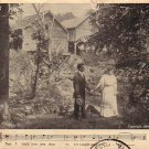 Couple near Creek, Parlor Song 1909 Vintage Postcard - 4702