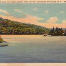 Sixth Lake & Jane's Island Adirondack Mountains New York NY Linen Postcard - 4705