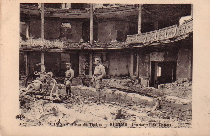 Interior of Destroyed Theatre in Reims France Vintage Postcard - 4717