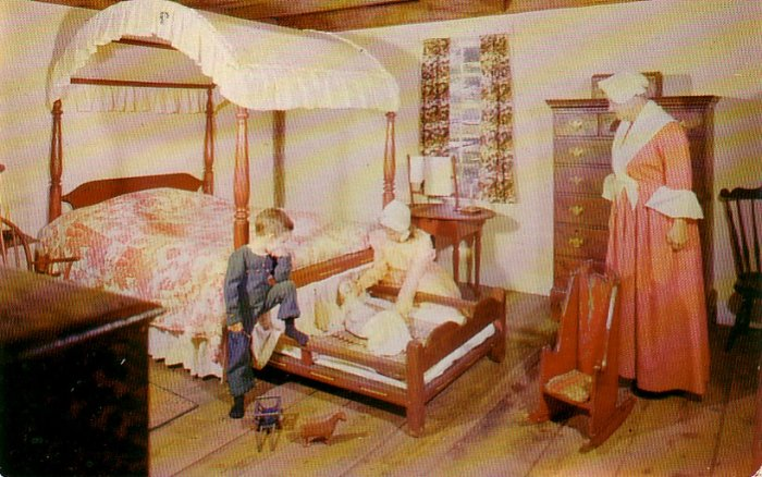 Bedroom in Richardson Salt Box House Old Sturbridge Village Massachusetts MA Postcard - 4761