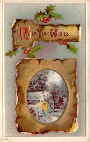 Winter Scene New Year Wishes Vintage Postcard - 4753