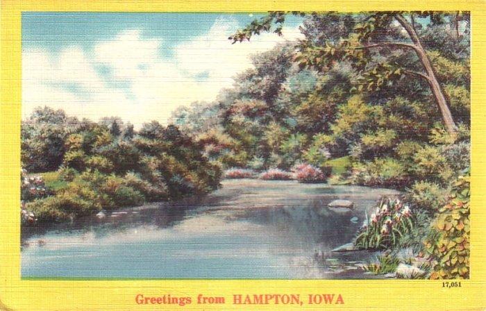 Greetings from Hampton Iowa IA, Lake View with Trees Mid Century Linen Postcard - 4779