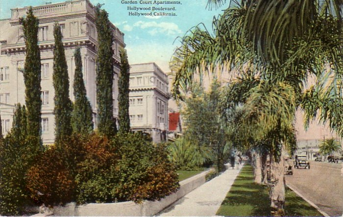 Garden Court Apartments on Hollywood Boulevard California CA Vintage Postcard - 4790