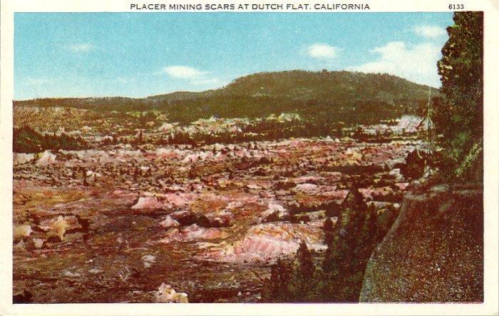 Placer Mining Scars at Dutch Flat California CA Vintage Postcard - 4791