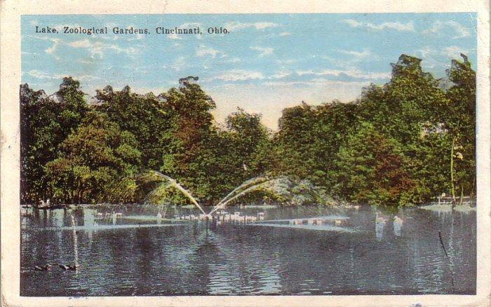 Lake at Zoological Gardens in Cincinnati Ohio OH Vintage Postcard - 4795