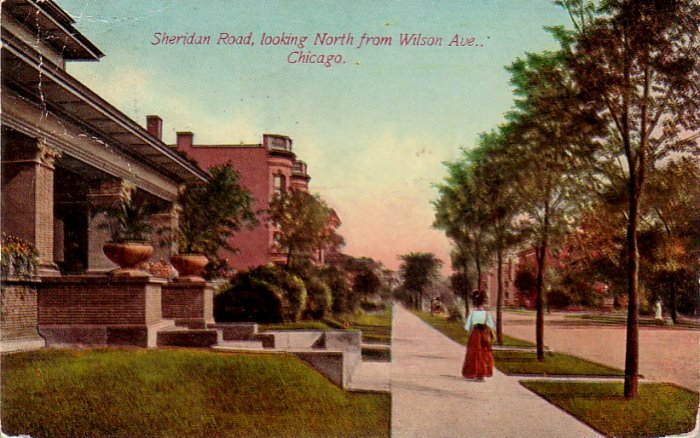 Sheridan Road looking North from Wilson Ave in Chicago Illinois IL Vintage Postcard - 4796