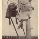 Send Me a Kiss by Wire, Ladies up a Telephone Pole 1909 Vintage Postcard - 4797